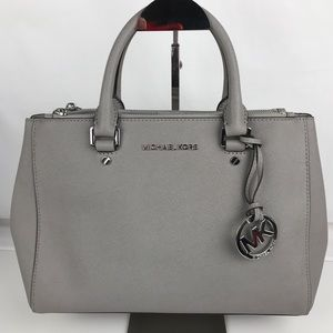 Michael Kors Sutton Gray Leather Satchel Handbag